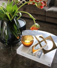 Waxinehouder carved bowl amber
