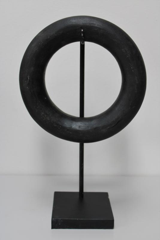 Stenen ring zwart medium