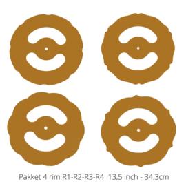 Set van 4 rim sjablonen 13,5 inch