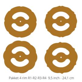 Set of 4 rim templates 9,5 inch
