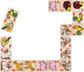 Goki houten domino met diertjes