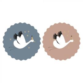 Stickers ooievaar in blauw en roze   9 stuks