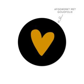 Stickers| Goud hartje | Zwart