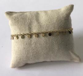 RVS armband goudkleurig met muntjes