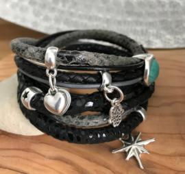 Armband zwart -grijs