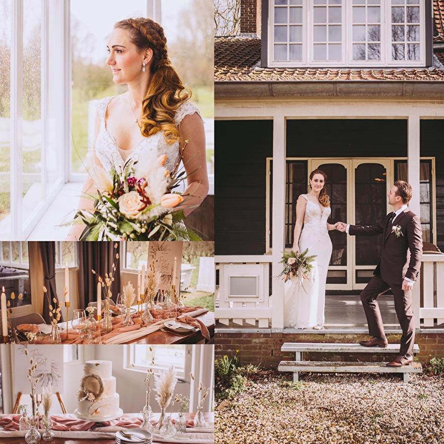 bruiloft in pampasgras sfeer
