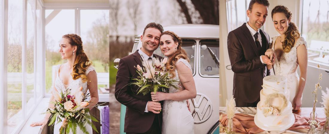 bruidsfoto versiert met pampasgras pluimen