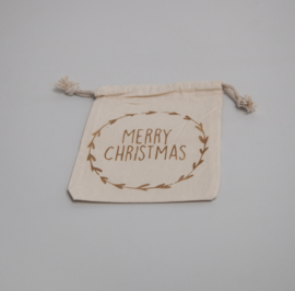 Kerstzakje Merry Christmas krans
