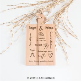 Serveerplank Bruiloft - gepersonaliseerd Jurgen & Melanie
