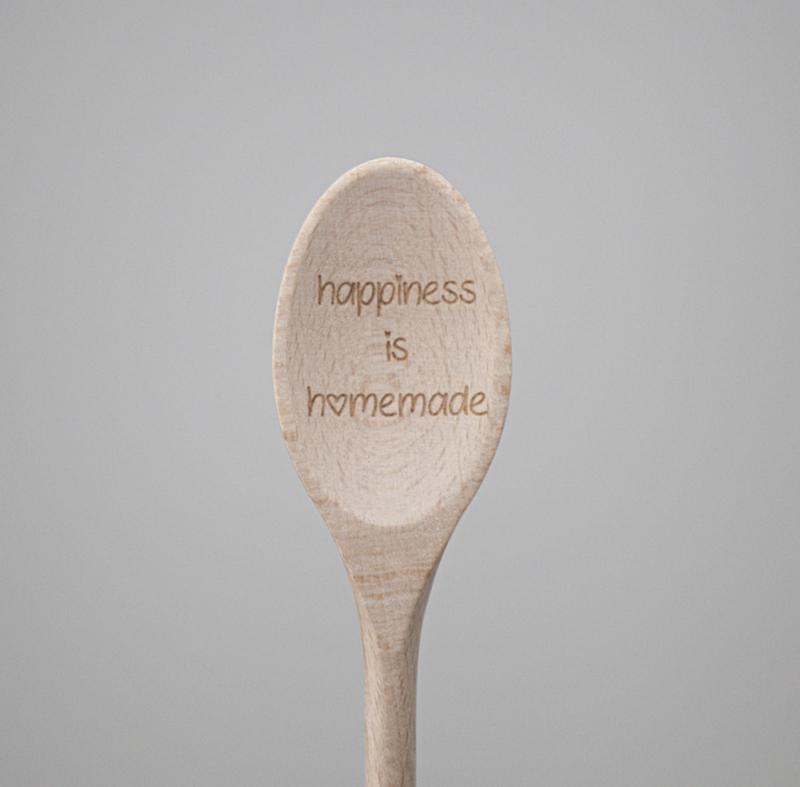 Houten lepel 'Happiness is homemade'