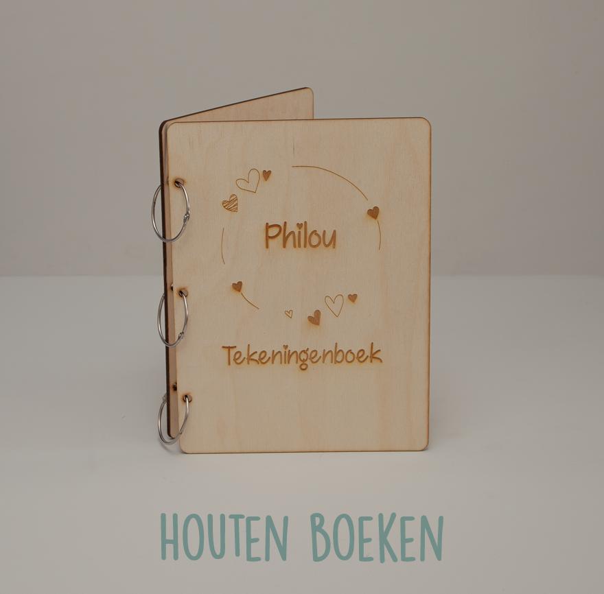 Houten tekeningenboek