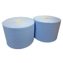 Industriepapier verlijmd blauw 2 laags 26 cm (prijs per 2 rollen)
