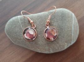 Liquid-art oorbellen, Rosé kleur.