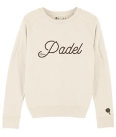 Padel sweater met racket op de mouw