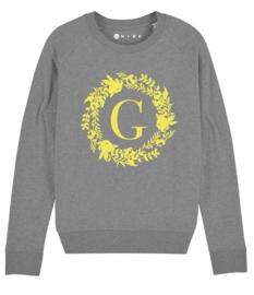 Mama sweater eerste letter met bloemenkrans