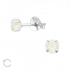 Oorstekers 925 Sterling zilver SWAROVSKI knopjes white opal