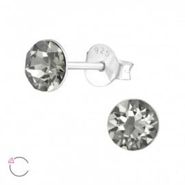 Oorstekers 925 Sterling zilver SWAROVSKI round black diamond