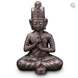 Keramische urn zilver Boeddha Dai Nichi (waxine)