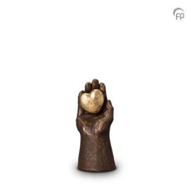 Keramische urn brons Handje met hart