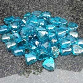 Glassteentjes blauwe hartjes