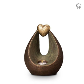 Keramische urn brons Verlichte hart (waxine)