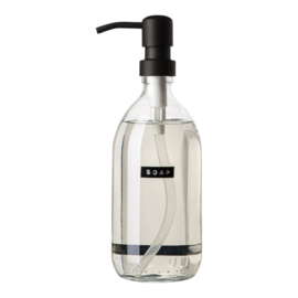 "wellmark handzeep 500ml helder glas fris linnen ""soap"" zwart"