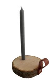 DX11 kaarsenhouder hout en leer