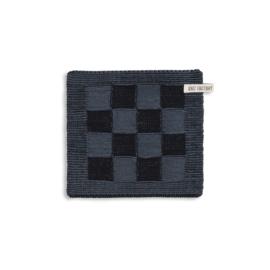 Knitfactory pannenlap block black/antraciet