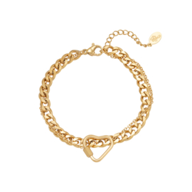 Armband Chained Heart - goud