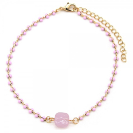 Pink beads goud