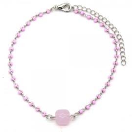 Pink beads zilver
