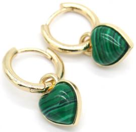 Oorringen goud - hart groen