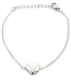 Armband hart - zilver