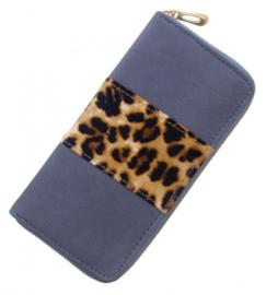 portemonnee luipaardprint - blauw