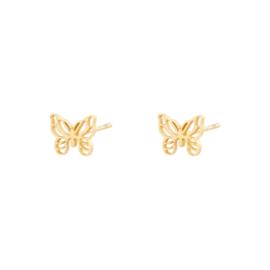 Oorbellen kleine vlinder  - goud