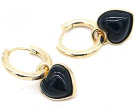 Oorringen goud - hart zwart