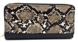 portemonnee slangenprint - bruin/zwart