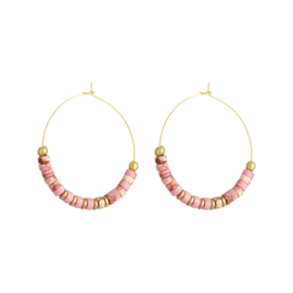 Oorbellen Beaded Hoops XL - roze