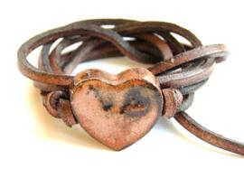 Armband leren veter met hart roest