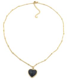 Hart - black onyx - goud