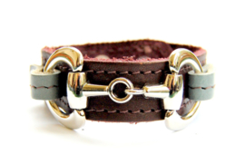 Armband Paardenbit donderbruin/grijs