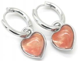 Oorringen zilver - hart roze
