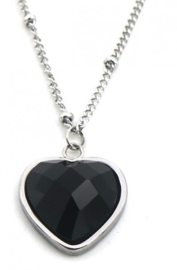 Hart - black onyx - zilver