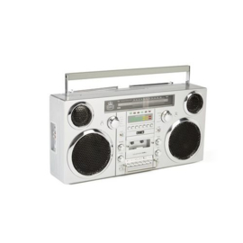 Jaren '80 stijl ghettoblaster met DAB+-radio, CD-speler, cassettedeck en bluetooth, zilver - GPO