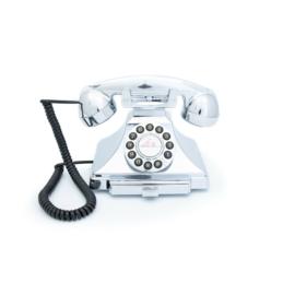 Twenties bakeliet-look telefoon - chroom