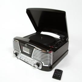 Retrolook muziekcentrum met digitalisatie functie zwart - GPO