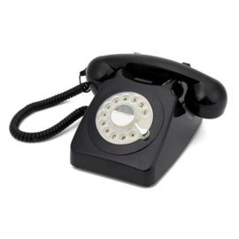 Seventies telefoon - zwart