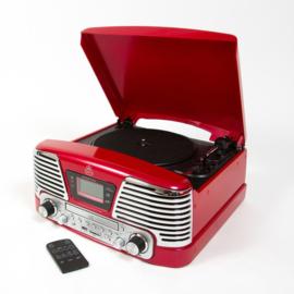 Retrolook muziekcentrum met digitalisatie functie, rood - GPO