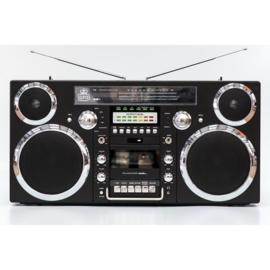 Jaren '80 stijl ghettoblaster met DAB+-radio, CD-speler, cassettedeck en bluetooth, zwart - GPO