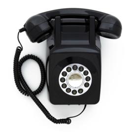 Seventies muurtelefoon - zwart